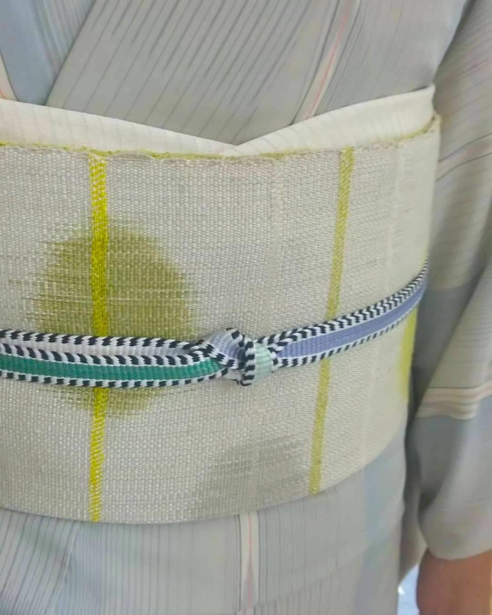 八寸帯 手織り 紬