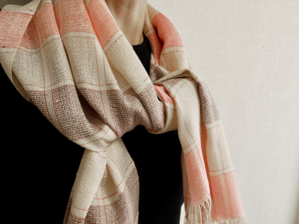 薄地 ショール 絹 手織り
