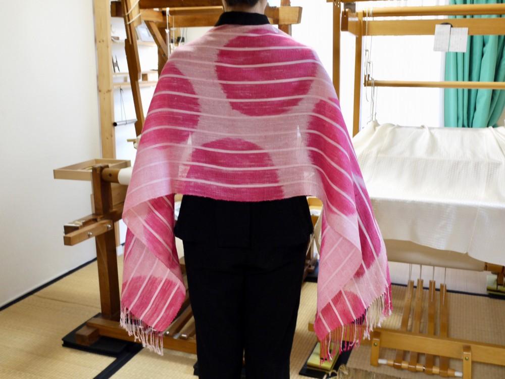 赤 ピンク オペラ 水玉 ショール 大判