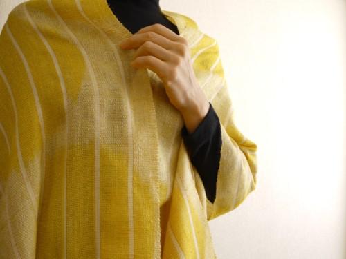 ショール 黄色 着物 真綿 絹 チリよけ