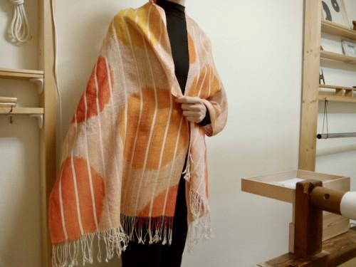 ショール 絹 チリよけ 手織り 太陽 オレンジ