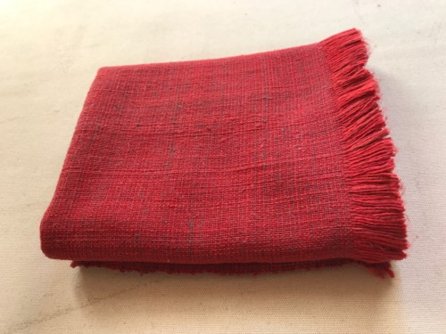 赤 ショール チリよけ 手織り 染織